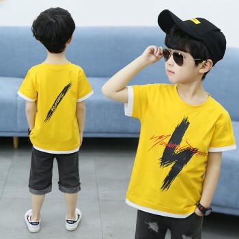 男の子のTシャツの半袖の中で大きい子供の服の2019夏の新型の稲妻プリントの子供の丸首の韓国版のゆったりしている男の子の赤ちゃんのボトムのシャツの夏服tシャツの上着の湿っている黄色の110