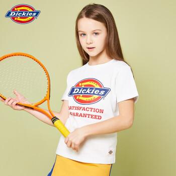 Dickies子供夏季2019新型丸首半袖Tシャツ大童男女セットトップ半袖Tシャツ白160