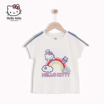 ハローキティ子供服2019新型夏服子供の中で大童丸首洋気カジュアル上着女の子Tシャツ白150 cm