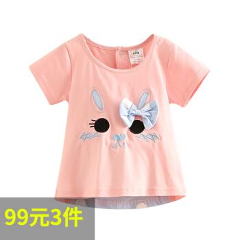 シェ要素子供服女の子夏服カートゥーンTシャツ丸首子供半袖上着tx 8293オレンジピンク110 cm