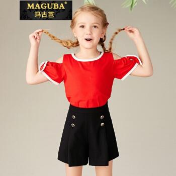 マキャバの軽贅沢ブランドの女性大童半袖の白いTシャツ新型子供服2019夏の子供服の肩の蝶々の赤い140 cmの上着