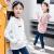 女性用Tシャツ長袖子供用ボトムス春秋タイプの中大童衛衣の連帽がゆったりしています。秋の新型女の子のTシャツの上着は韓国版の白160(身長150 cm-160 cmに適しています。)