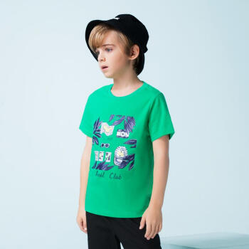 アンネ童装男童纯绵Tシャツ2019夏装新款夏カジュアル丸首セット头打底シャツ绿芽色170