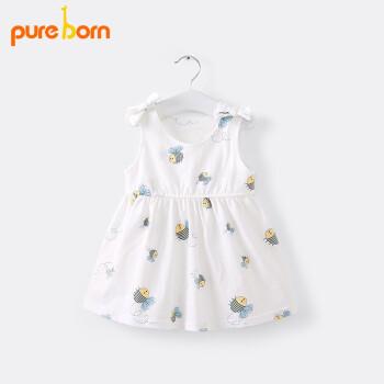 pureborn博睿恩赤ちゃんの夏のスカートの赤ちゃんの背丈のスカートの子供のワンピースの赤ちゃんの純綿の王女のベストのスカートの小さいミツバチの80 cm 6-12ヶ月