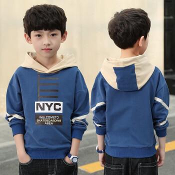 男性の子供の秋の服の長袖Tシャツ2019新型の年齢の中で大きい子供のファッションの韓国版の上着の子供服の子供服の子供服の子供の下着の青い150