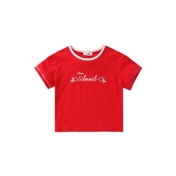 アンネの子供服の女性用半袖Tシャツ2019新型洋風の中で大子供の上着をベースにした夏服の純綿薄原力紅140 cm