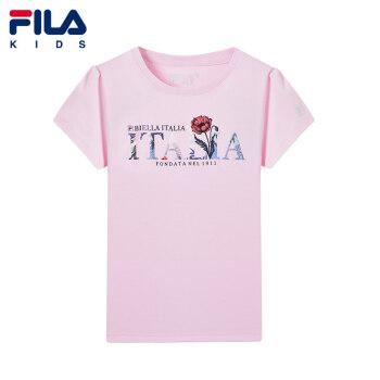 FILAフレイ子供服オフィシャルフラッグシップショップ公式サイト2019夏少女上着快適通気半袖Tシャツ薄桜粉-PK 165 cm