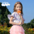 Balenoベネロード子供服2020春夏新作ハスの葉の半袖子供Tシャツ白鳥英語プリントの子供服ファッション42 Pランカの紫140 cm(140 CM)
