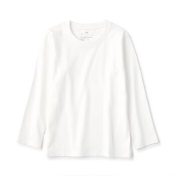 良品計画MUJI子供インド綿天竺編み長袖Tシャツ白120