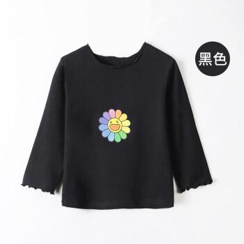 南極人の女の子のTシャツの子供は底のシャツを打ちます2020年の洋風の中で大きい女の子の韓国版の薄い上着の黒色の110 cm