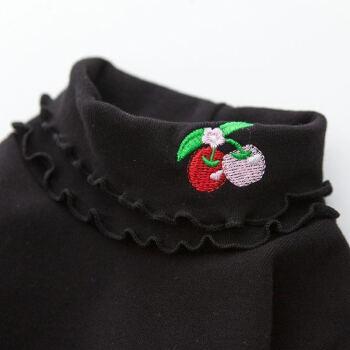 【百貨店同種】ネットで子供服の女の子を秋冬ハライカラでベースを厚くした中大子供Tシャツ。韓国版女の子宝秋衣上着黒イチゴ年齢120 cm
